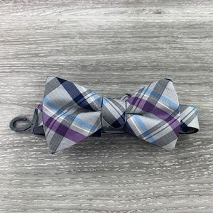 Stafford Silver Purple Plaid Tie